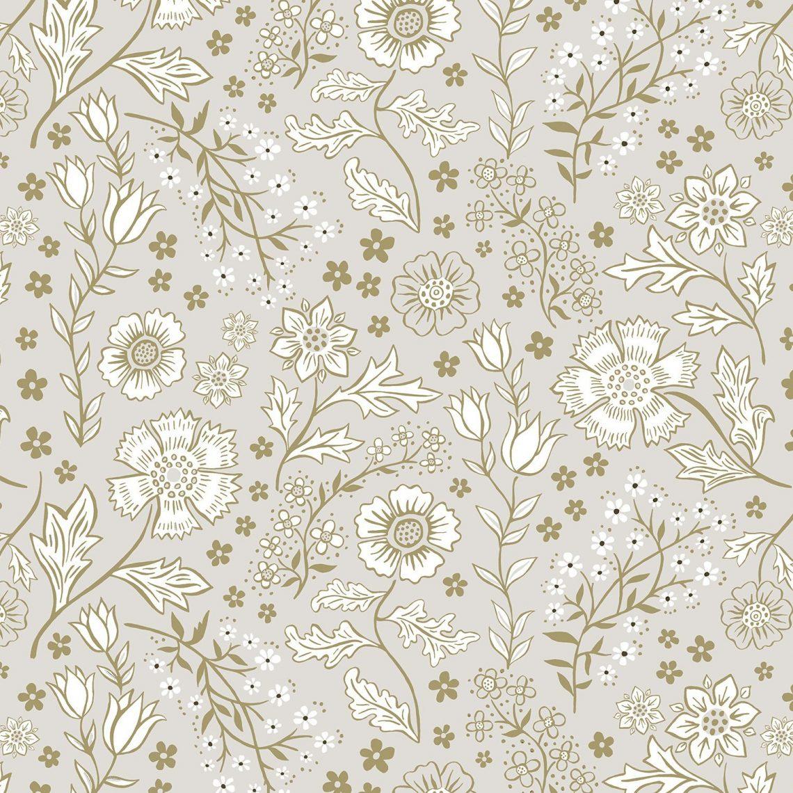 Josie Shenoy Flora Fabric - Natural